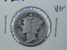 1921 US SILVER COIN -- ONE $.10 MERCURY DIME VG