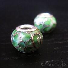 2PCs Emerald Green Cloisonne Enamel Beads For European Style Charm Bracelets