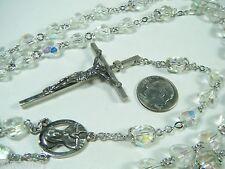 "VINTAGE AURORA BOREALIS CRYSTAL ROSARY BEADS STERLING JESUS & MARY 31""+ 7"" LONG"
