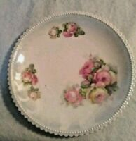 """Antique PK Silesia Porcelain 8"""" Plate Germany Pink Roses EXCELLENT condition"""