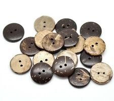 """Pkg of 20 Small Brown 2-hole Coconut Shell Buttons 1/2"""" (12mm) Craft (1156)"""