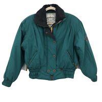 Vintage Obermeyer Ski Snow Jacket Green Nordic Embroidered Coat Sz 8 Puffer 80's