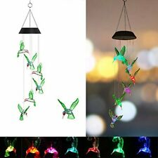 Solar Led Hummingbird Wind Chimes Light Color Changing Xmas Garden Decor Lamp