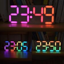 Digital Tube Alarm Clock Large Size Adjustable Rainbow Color Desktop LED Display