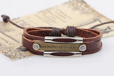 "Brown Leather Unisex Bracelet ""Where There Is a Will There's a Way"" Adjustable"