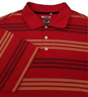Men's Adidas Climacool Vented Pit Red Striped Golf Polo Shirt Size Large