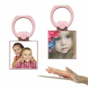 Personalised Photo Square Phone Ring Holder-Pink