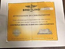 BREITLING CERTIFICAT DE CHRONOMÉTRE CERTIFICAT CHRONOMETER 2158728