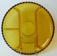 Amber Relish Dish Round Glass Grill Serving Platter