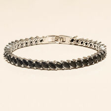 Real Egyptian Black Marquise Spinel Tennis Bracelet 925 Sterling Silver Jewelry