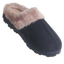 WOMENS OUTDOOR INDOOR SCUFF HOUSE SLIPPERS BLACK  SMALL  S  (5/6)