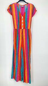Vintage Rabbit Rabbit Rabbit Designs Jumpsuit Romper Women's Size 6 Bold Stripes
