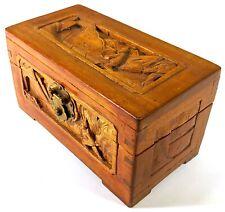 Antigüedad Alcanfor (?) Madera Caja Tallada a Mano Asiático Chino Oriental O064