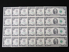 6x 2003 A $2 Frn Us Bank Notes Usa Bill Uncut Sheet Consecutive Lucky 8S