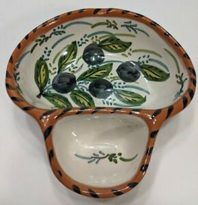 CASAFINA Hand painted Pottery Olive Dish w Sidecar Pits Portugal Olaria bowl