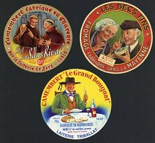 Set of Three Original French Cheese Labels, People Happy About Cheese, 638