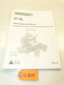 Gravely ZT 1844-XL Zero Turn Mower Owners Manual