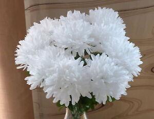 10  x Chrysanthemen  weiß Länge  45 cm  Kunstblumen -Seidenblumen