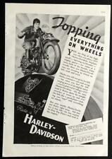 1935 Harley Davidson *Topping Everything on Wheels* vintage Motorcycle AD