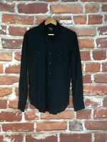 Vintage RRL Double Ralph Lauren S Black Pearl Western Military Snap Work Shirt
