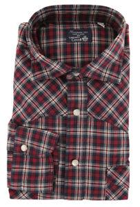 $425 Finamore Napoli Red Plaid Cotton Shirt - Extra Slim - L US/L EU - (W1)