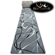 Hall Runner SILVER CHOCO GREY Width 70 - 120 cm ABSTRACT extra long soft RUGS