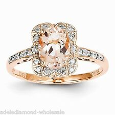 New 1.5cts Oval Morganite & Diamond Cushion Halo 14K Rose Gold Engagement Ring