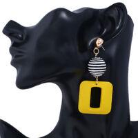 Fashion Women Square Geometric Pendant Dangle Drop Statement Earrings Jewelry