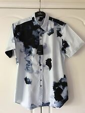 Paul Smith Mens Gents Size M Short Sleeve Printed Shirt Sky Blue Print -BNWT
