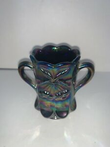 Vintage Mosser Blue Carnival Glass Cherry Thumbprint Toothpick Holder
