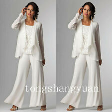 2017 Long Sleeve Mother Of The Bride Dresses + Jacket Pants Suits Custom Chiffon