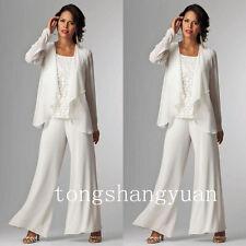 2017 Long Sleeve Mother Of The Bride Dresses + Jacket Pants Suits Custom Chiffon