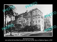 OLD POSTCARD SIZE PHOTO OF SAVANNAH GEORGIA VIEW OF THE DE SOTO HOTEL c1930