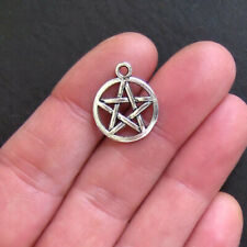 8 Pentagram Charms Antique Silver Tone - SC494