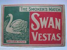 Old Large Swan Vestas Matchbook Match Box Holder Striker Bryant & May British