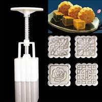 4Pcs/set Cake Tool Stamps Square Flower Moon Cake Mold Mould Mooncake DIY Tools