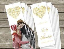 n. 100 SEGNALIBRO Ringraziamento Segnaposto Bomboniera PERSONALIZZATO Matrimonio