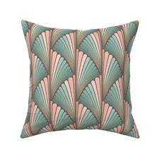 Deco Fans Coral Pink Mint Green Throw Pillow Cover w Optional Insert by Roostery