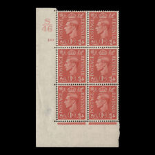 Great Britain 1941 (MNH) 1d Pale Scarlet control S46, cylinder 130 block