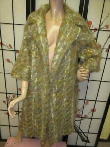 Vtg 50s 60s LILLI ANN GLAMOUR MOHAIR FUZZY BOUCLE Tweed Swing Clutch Dress Coat