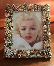 One Of A Kind Rhinestone Gold Picture Photo Frame Vintage Costume Jewelry Art
