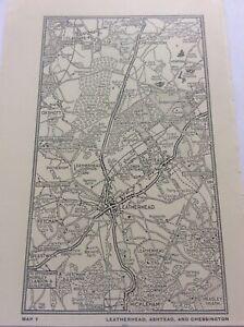"Leatherhead Ashtead Chessington c1920 Antique Map London South of Thames 7x4"""