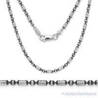 Sterling Silver Black Rhodium 2.3mm Diamond-Cut Bead Link Chain Italian Necklace