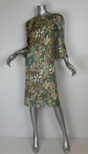 Marni floral knee length dress sheath beige Sz46 side zip 100% silk 3/4 sleeve