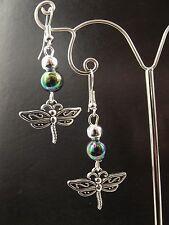 Dragonfly & Iridescent  Bead Earrings
