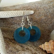 Handmade in Hawaii Teal blue  sea glass earrings SS earring wires gift wrap