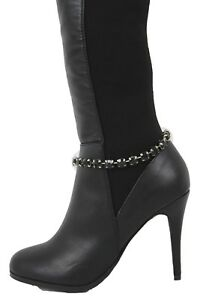 Women Fabric Tie Chain Boot Bracelet Anklet Shoe Charm Black Beads Bling Jewelry