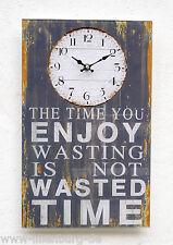 Wanduhr Küchenuhr Glas Wandbild Bild Spruch Text Glasuhr Vintage groß Design bla