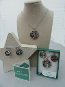 STUNNING PAUA SHELL 'TIDE' 'TREE OF LIFE' PENDANT NECKLACE EARRINGS GIFT BOXED