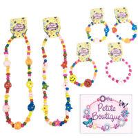 6 Wooden Bead Bracelet Necklace Kids Accessories Favours Loot Party Bag Filler